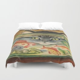 Cat Looking at Goldfish Vintage Art Duvet Cover