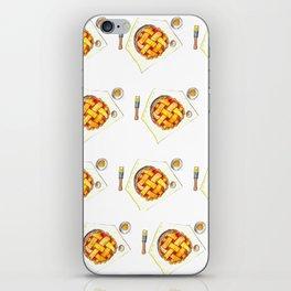 Kitchen worktop top view with utensils, open cookbook and cherry pie preparation iPhone Skin