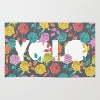 bjork Area & Throw Rugs featuring //  YOU ONLY LIVE ONCE  by Bianca Green