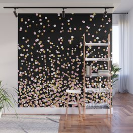 Floating Dots - White, Gold and Pink on Black Wall Mural