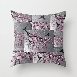 pink and white japanese cherry blossom design designs japan with silver texture in background Throw Pillow