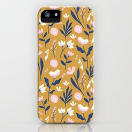 Mustard Floral Pattern iPhone Case
