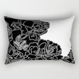 FLORAL IN BLACK AND WHITE Rectangular Pillow