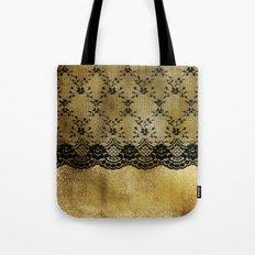 Black floral elegant lace on gold metal background- #Society6 Tote Bag