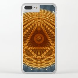 Mandala of Radiant Abundance (grey-gold) Clear iPhone Case