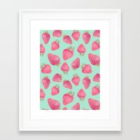 strawberry Framed Art Prints featuring Strawberry  by Marta Olga Klara