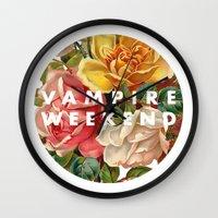 vampire weekend Wall Clocks featuring Vampire Weekend vintage flowers by Van de nacht