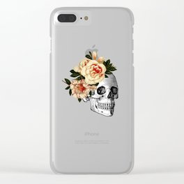 Sugar Skull Floral Clear iPhone Case