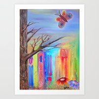 travel butterfly Art Print