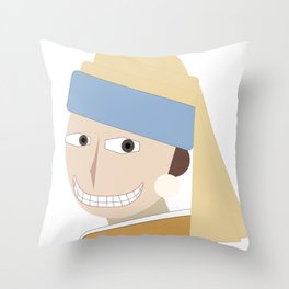 Smiling Girl with a Pearl Earring Throw Pillow