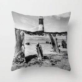 Spurn Point Lighthouse and Groynes Throw Pillow