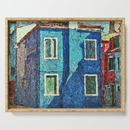 Burano blue house Serving Tray