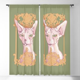 Royal Hairless Sphynx Cat in a Gold Baroque Frame - Green Background Blackout Curtain