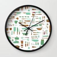 kitchen Wall Clocks featuring Kitchen by Mathilde Ruau