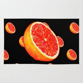 Grapefruit Pattern - Black Rug