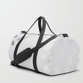 Silver and White Duffle Bag