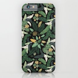 tropical lush garden leaf bed seamless vector pattern iPhone Case