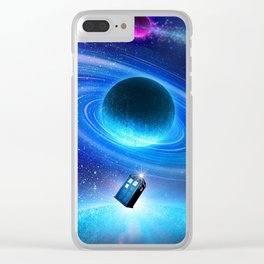flying tardis in space Clear iPhone Case