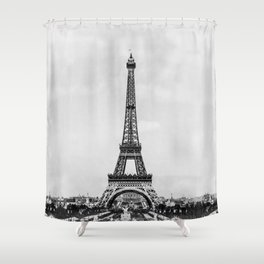 Eiffel tower in B&W with painterly effect Shower Curtain