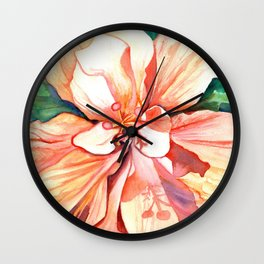 Double Peach Tropical Hibiscus Wall Clock