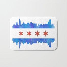 Chicago Flag Skyline Watercolor Bath Mat