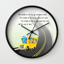 Wheels on the Bus Wall Clock