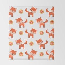 Orange Fox Throw Blanket