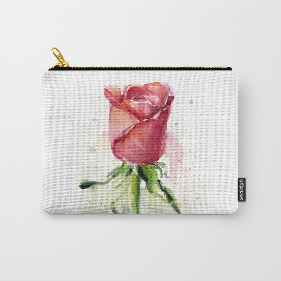 Rose Watercolor Red Flower Painting Floral Flowers Carry-All Pouch