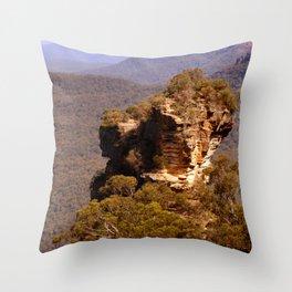Blue Mountains Rockface Throw Pillow