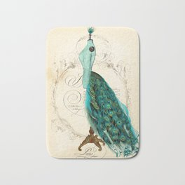 Peacock bustle mannequin Bath Mat