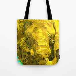 Sunshine Yellow Elephant art Tote Bag