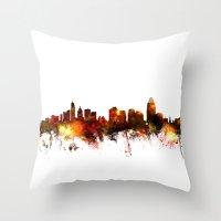 cincinnati Throw Pillows featuring Cincinnati Ohio Skyline by artPause