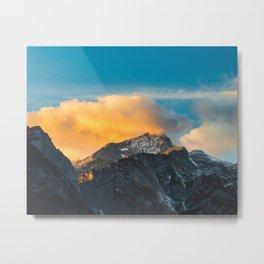Last light on mountains before sunset Metal Print