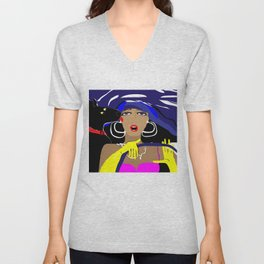 """Driving with my best friend"" Paulette Lust's Original, Contemporary, Whimsical, Colorful Art Unisex V-Neck"