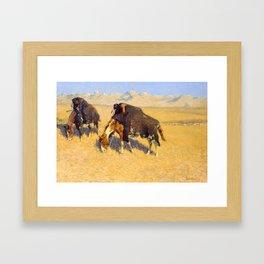Frederic Remington - Indians Simulating Buffalo, 1908 Framed Art Print