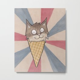 Ice Cream Cat Metal Print