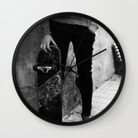 skateboard Wall Clocks featuring SkateBoard Girl by amit sakal
