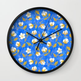 Painterly cotton flowers // in cobalt blue Wall Clock