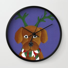 Christmas Pup Wall Clock