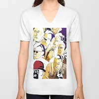 faces V-neck T-shirts featuring Faces by Helen Syron
