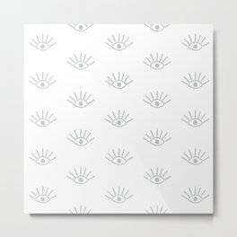 Light Grey Evil Eye Pattern Metal Print