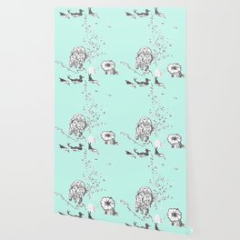 Two Tailed Duck and Jellyfish Mint Green Wallpaper