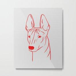 Xoloitzcuintli (Light Gray and Red) Metal Print