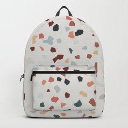 beige green brown terrazzo marble pattern  Backpack