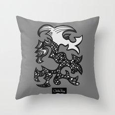 Kissing Dragon Black and white Throw Pillow