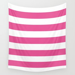 Barbie Pink (1959-1975) - solid color - white stripes pattern Wall Tapestry