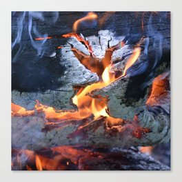 black white and flame Canvas Print