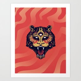 Holy colored tiger Art Print