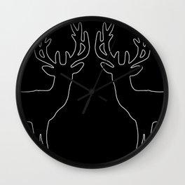 Reindeer black big  - white line - Christmas design Wall Clock