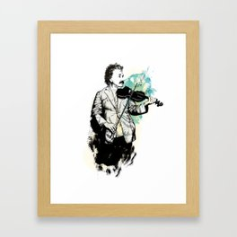 Albert Einstein with his violin Framed Art Print